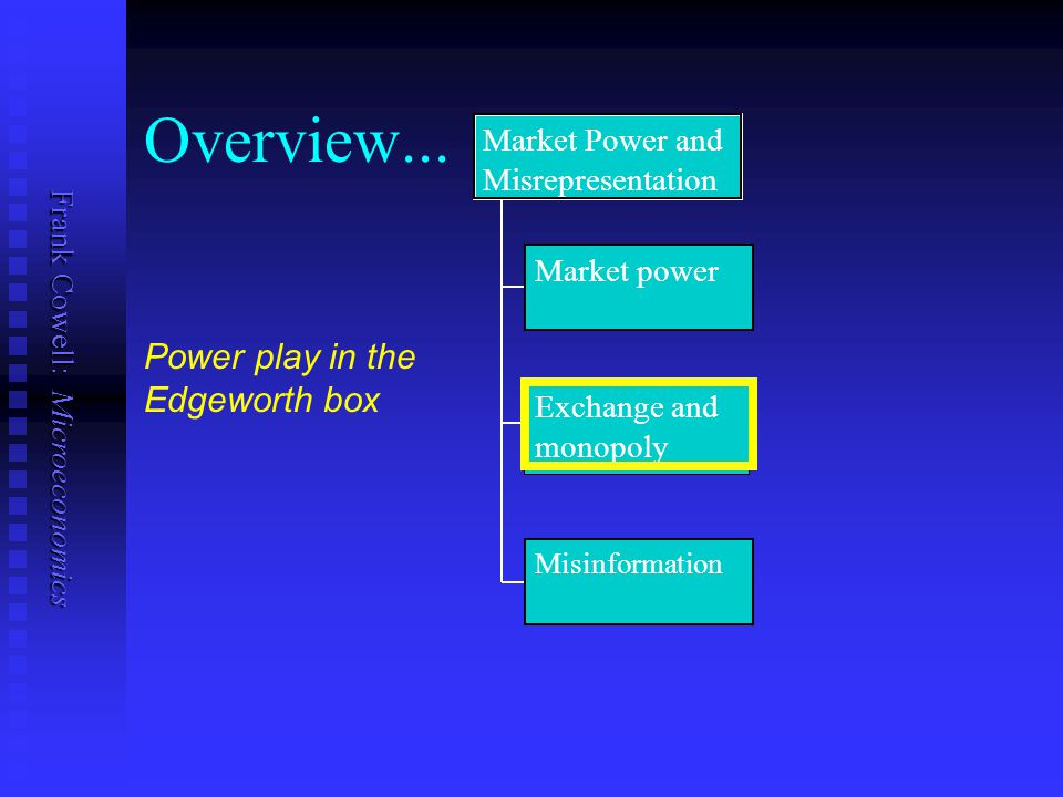 Frank Cowell: Microeconomics Overview... Market power Exchange and monopoly Misinformation Market Power and Misrepresentation Power play in the Edgewo