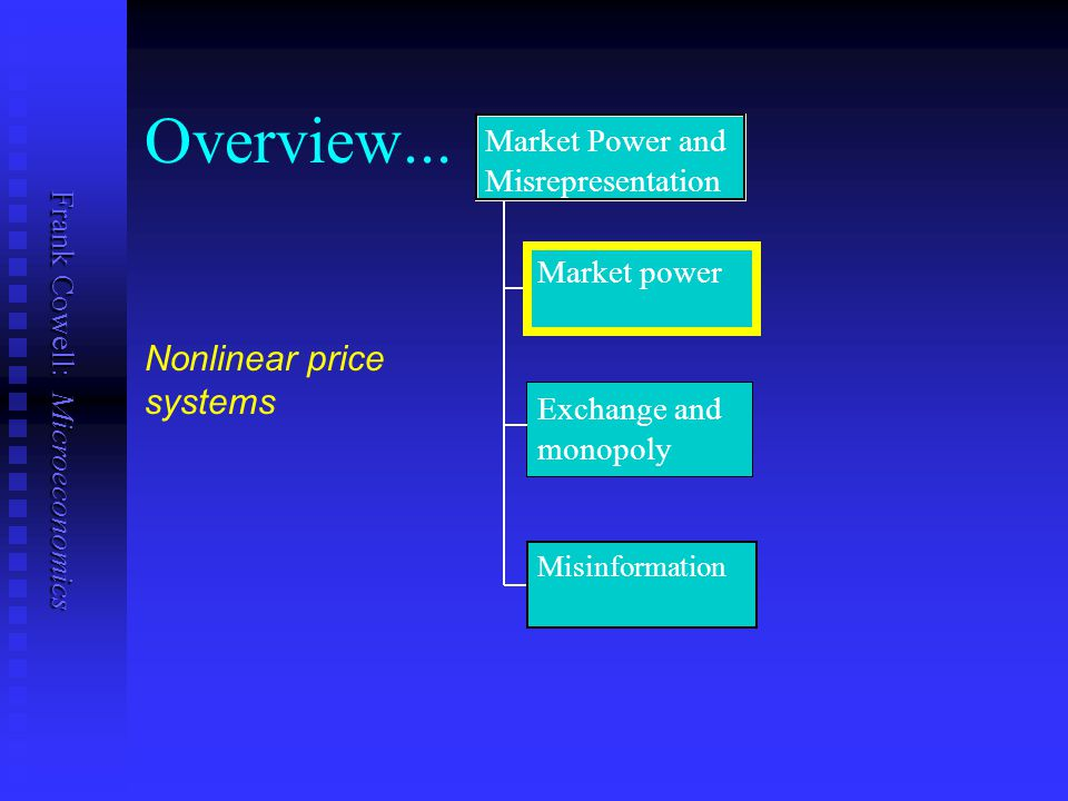 Frank Cowell: Microeconomics The setting Consider an exchange economy Consider an exchange economy Suppose one agent has extended monopoly power Suppose one agent has extended monopoly power Can charge a fee for the right to access good 1 Can charge a fee for the right to access good 1  this can only work for goods where resale is difficult  otherwise consumers can undermine the fee by bulk-buying and selling on the commodity to others  sometimes public utilities fit this paradigm Assume that any other trader acts as a price taker Assume that any other trader acts as a price taker Analyse this within the context of the Edgeworth box Analyse this within the context of the Edgeworth box