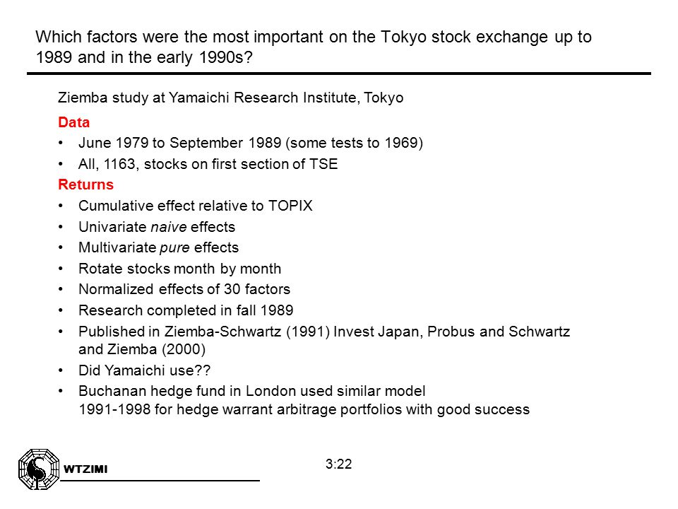 WTZIMI 3:22 Ziemba study at Yamaichi Research Institute, Tokyo Data June 1979 to September 1989 (some tests to 1969) All, 1163, stocks on first section of TSE Returns Cumulative effect relative to TOPIX Univariate naive effects Multivariate pure effects Rotate stocks month by month Normalized effects of 30 factors Research completed in fall 1989 Published in Ziemba-Schwartz (1991) Invest Japan, Probus and Schwartz and Ziemba (2000) Did Yamaichi use .