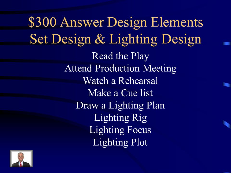 $300 Question Design Elements Set Design & Lighting Design Name three parts of the Lighting Design Process.