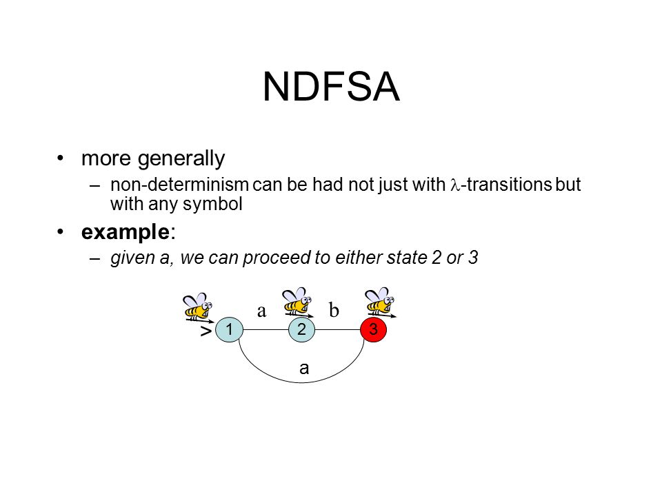 NDFSA more generally –non-determinism can be had not just with -transitions but with any symbol example: –given a, we can proceed to either state 2 or