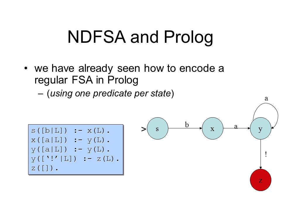 NDFSA and Prolog we have already seen how to encode a regular FSA in Prolog –(using one predicate per state) s([b|L]) :- x(L). x([a|L]) :- y(L). y([a|