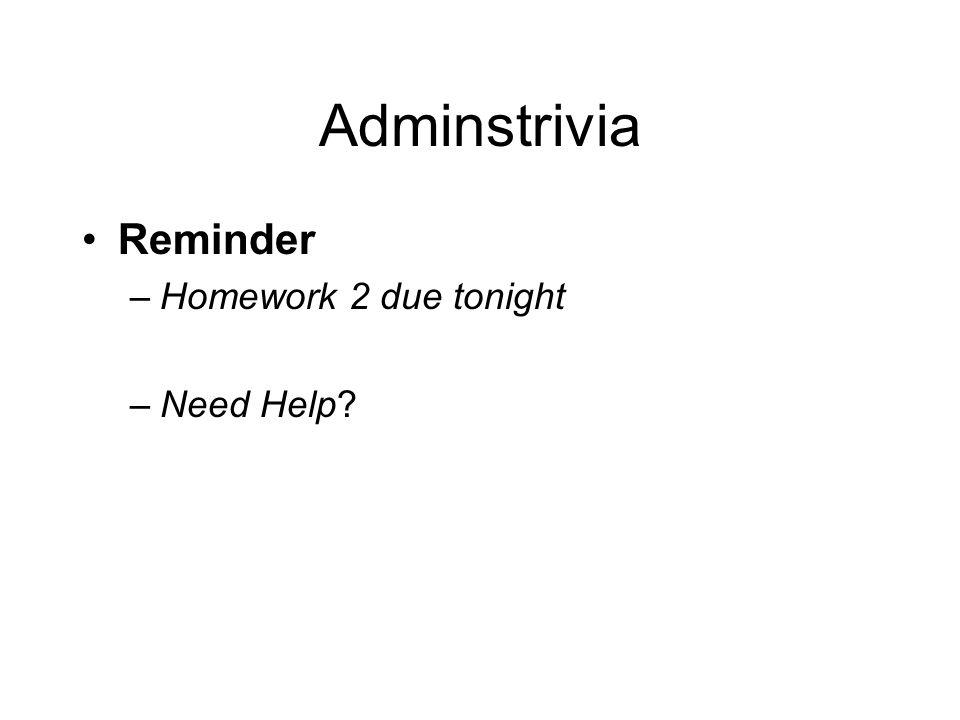 Adminstrivia Reminder –Homework 2 due tonight –Need Help