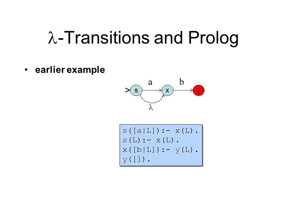 -Transitions and Prolog earlier example s([a|L]):- x(L). s(L):- x(L). x([b|L]):- y(L). y([]). s([a|L]):- x(L). s(L):- x(L). x([b|L]):- y(L). y([]). sx