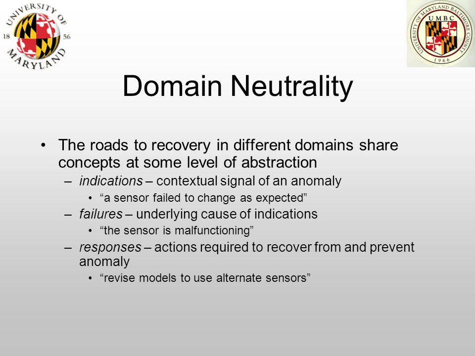 Domain Neutrality The roads to recovery in different domains share concepts at some level of abstraction –indications – contextual signal of an anomal