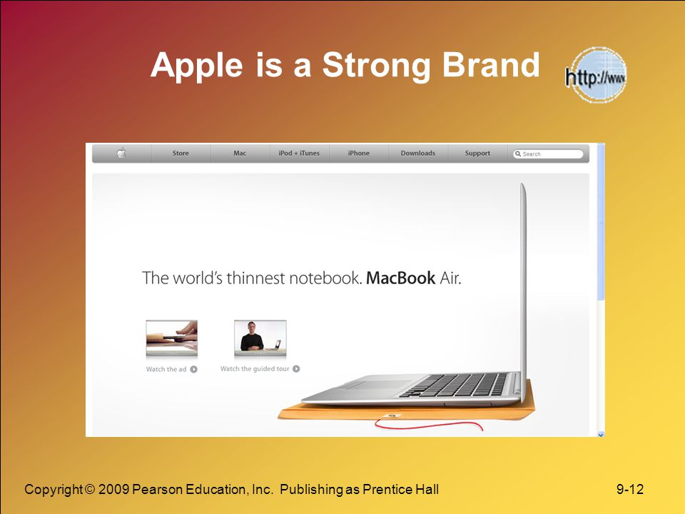Copyright © 2009 Pearson Education, Inc. Publishing as Prentice Hall 9-12 Apple is a Strong Brand