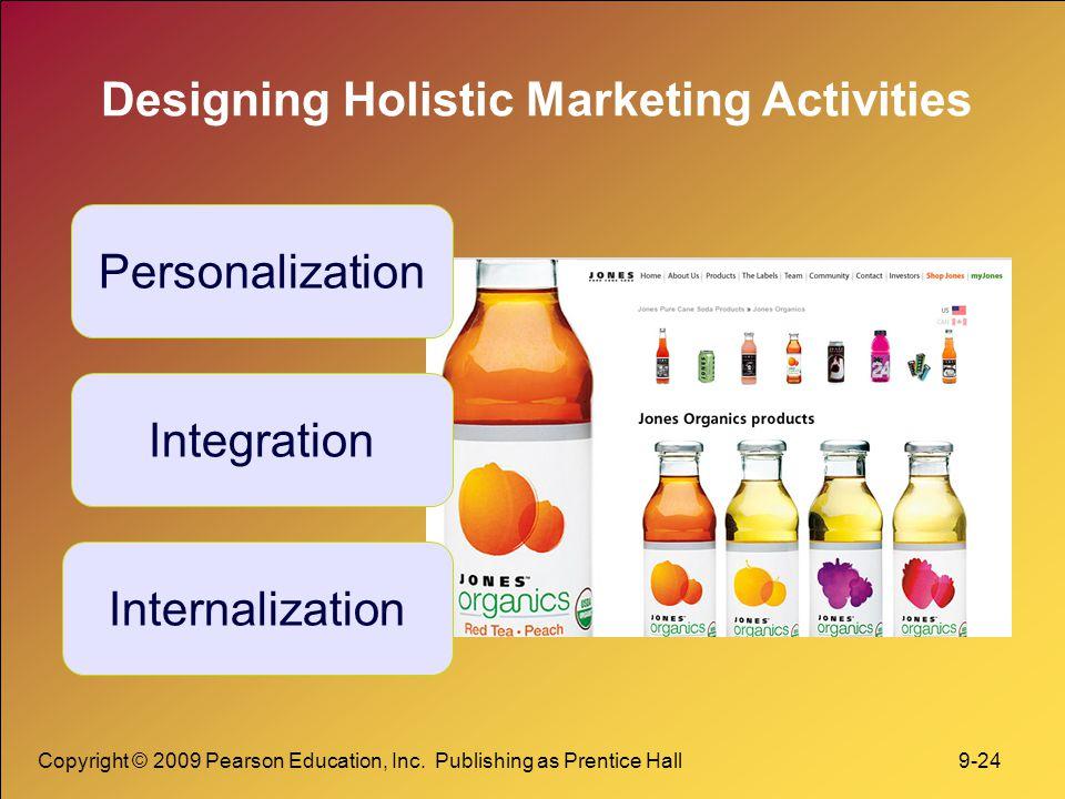 Copyright © 2009 Pearson Education, Inc. Publishing as Prentice Hall 9-24 Designing Holistic Marketing Activities Personalization Integration Internal
