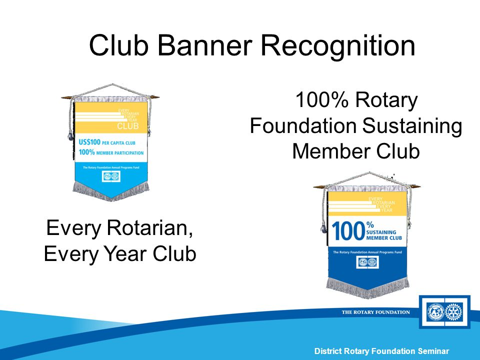 District Rotary Foundation Seminar Club Banner Recognition 100% Rotary Foundation Sustaining Member Club Every Rotarian, Every Year Club