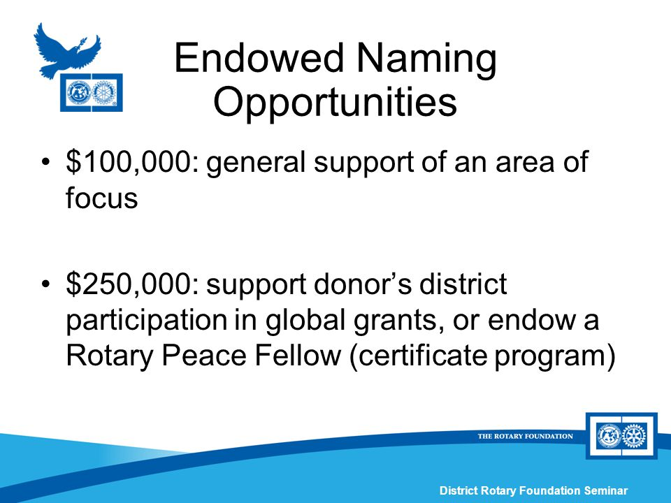 District Rotary Foundation Seminar Endowed Naming Opportunities $100,000: general support of an area of focus $250,000: support donor's district participation in global grants, or endow a Rotary Peace Fellow (certificate program)