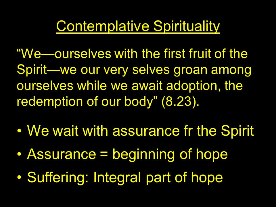 Contemplative Spirituality We—ourselves with the first fruit of the Spirit—we our very selves groan among ourselves while we await adoption, the redemption of our body (8.23).