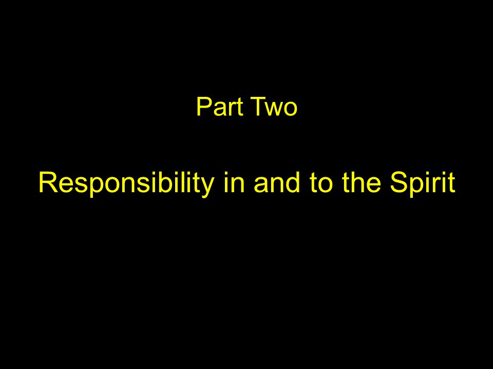 Part Two Responsibility in and to the Spirit