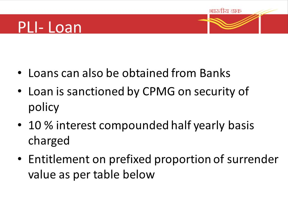 PLI- Loan Loans can also be obtained from Banks Loan is sanctioned by CPMG on security of policy 10 % interest compounded half yearly basis charged En