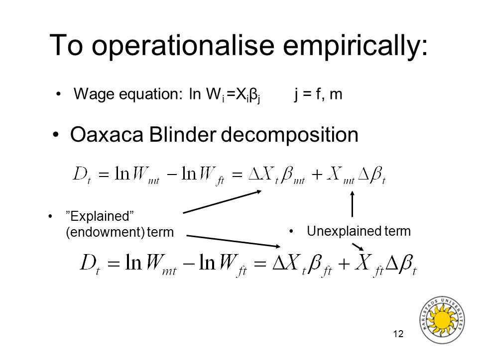 12 To operationalise empirically: Oaxaca Blinder decomposition Wage equation: ln W i =X i β j j = f, m Explained (endowment) term Unexplained term