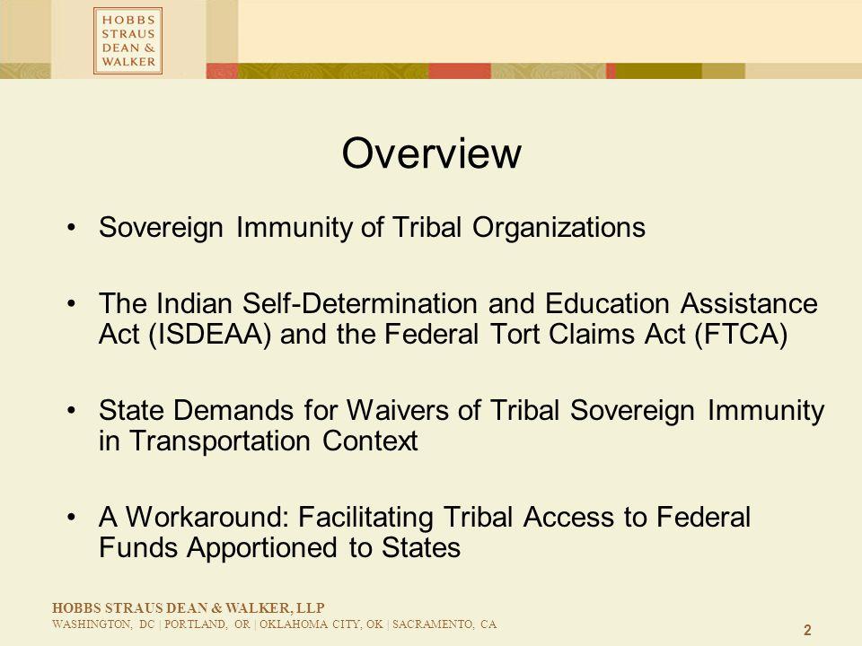 2 HOBBS STRAUS DEAN & WALKER, LLP WASHINGTON, DC | PORTLAND, OR | OKLAHOMA CITY, OK | SACRAMENTO, CA Overview Sovereign Immunity of Tribal Organizatio