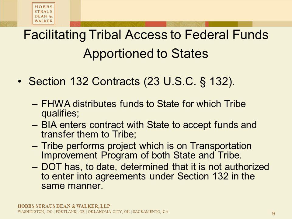 9 HOBBS STRAUS DEAN & WALKER, LLP WASHINGTON, DC | PORTLAND, OR | OKLAHOMA CITY, OK | SACRAMENTO, CA Facilitating Tribal Access to Federal Funds Appor