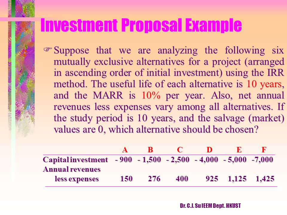 Dr. C.J. Su IEEM Dept. HKUST Investment Proposal Example FSuppose that we are analyzing the following six mutually exclusive alternatives for a projec