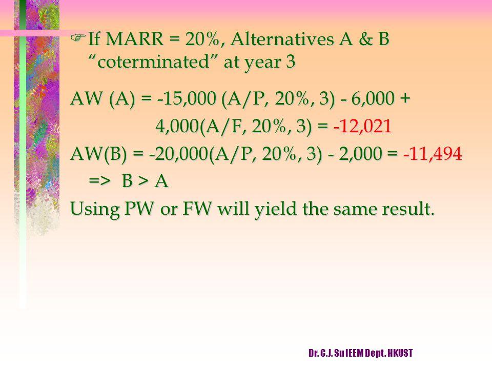 "Dr. C.J. Su IEEM Dept. HKUST FIf MARR = 20%, Alternatives A & B ""coterminated"" at year 3 AW (A) = -15,000 (A/P, 20%, 3) - 6,000 + 4,000(A/F, 20%, 3) ="