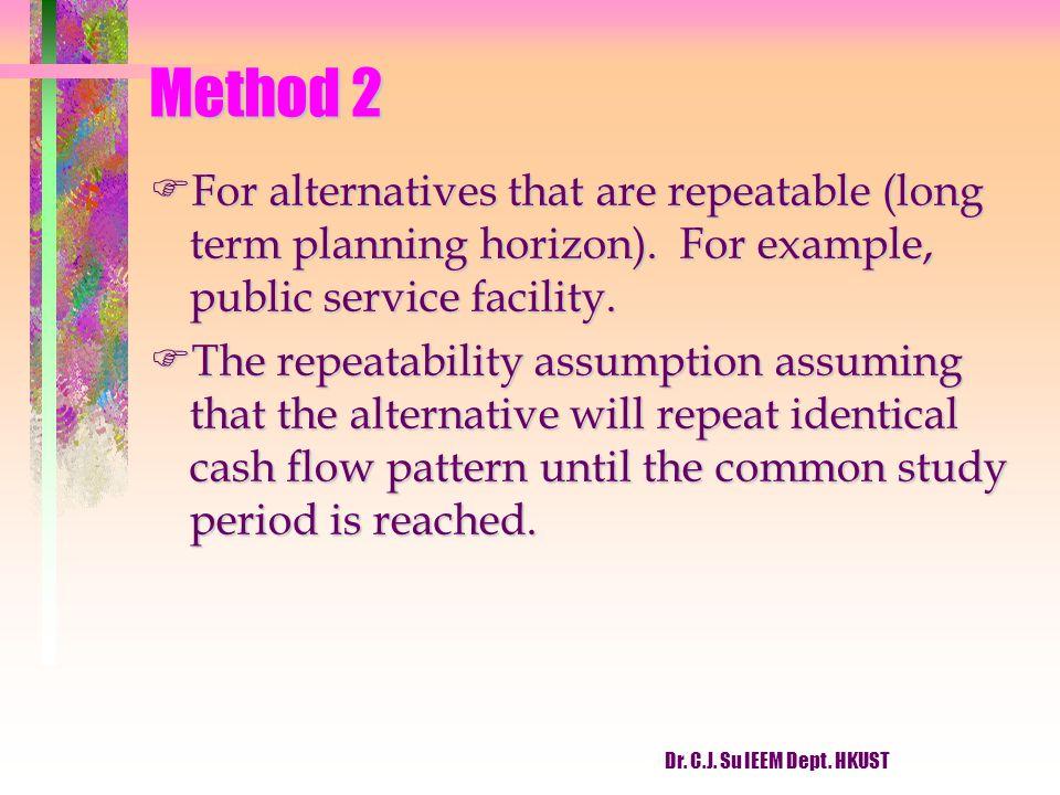 Dr. C.J. Su IEEM Dept. HKUST Method 2 FFor alternatives that are repeatable (long term planning horizon). For example, public service facility. FThe r
