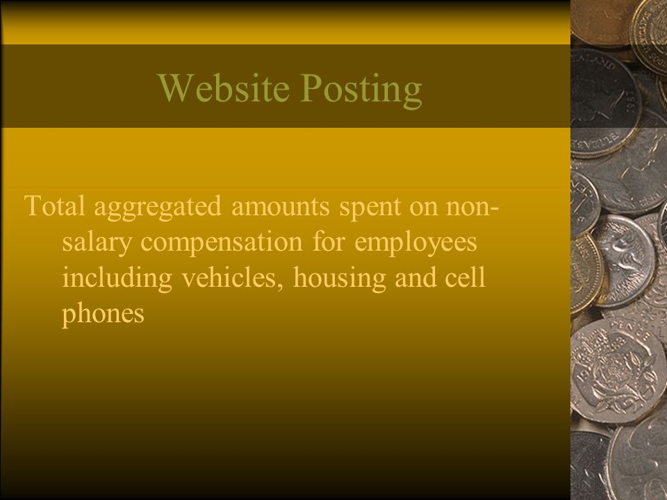 Website Posting Total aggregated amounts spent on non- salary compensation for employees including vehicles, housing and cell phones