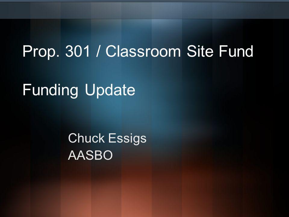 Prop. 301 / Classroom Site Fund Funding Update Chuck Essigs AASBO