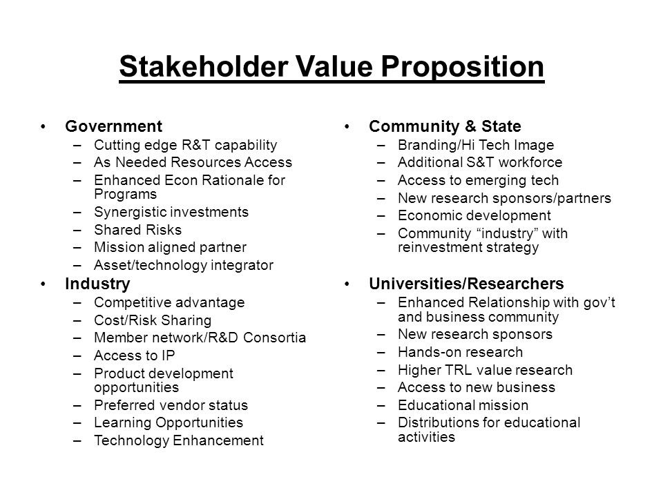 Stakeholder Value Proposition Government –Cutting edge R&T capability –As Needed Resources Access –Enhanced Econ Rationale for Programs –Synergistic investments –Shared Risks –Mission aligned partner –Asset/technology integrator Industry –Competitive advantage –Cost/Risk Sharing –Member network/R&D Consortia –Access to IP –Product development opportunities –Preferred vendor status –Learning Opportunities –Technology Enhancement Community & State –Branding/Hi Tech Image –Additional S&T workforce –Access to emerging tech –New research sponsors/partners –Economic development –Community industry with reinvestment strategy Universities/Researchers –Enhanced Relationship with gov't and business community –New research sponsors –Hands-on research –Higher TRL value research –Access to new business –Educational mission –Distributions for educational activities