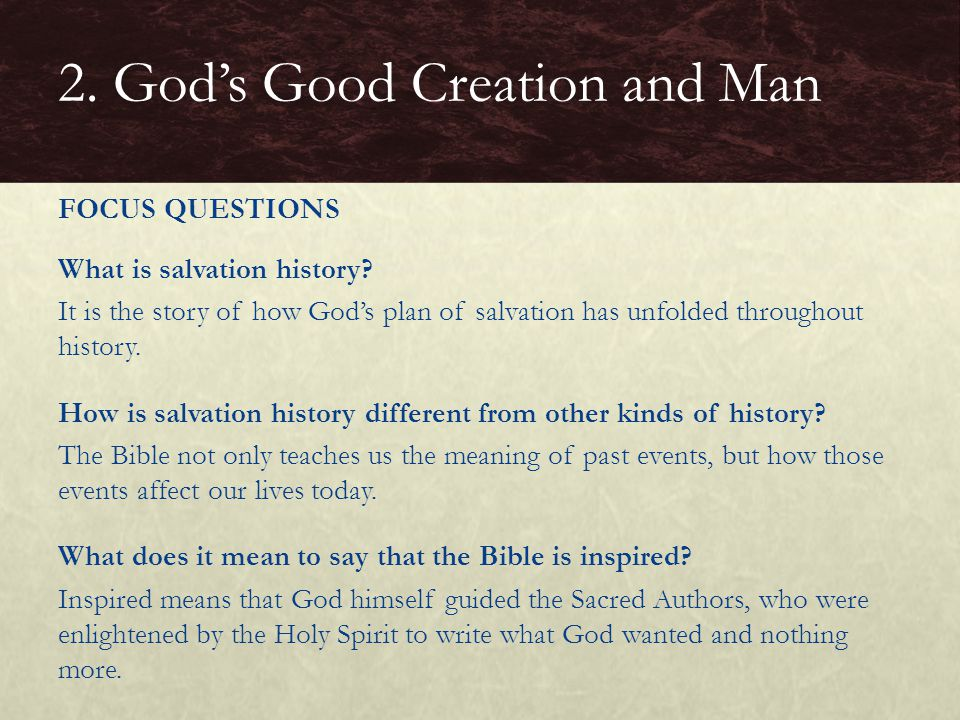 What is salvation history? It is the story of how God's plan of salvation has unfolded throughout history. How is salvation history different from oth