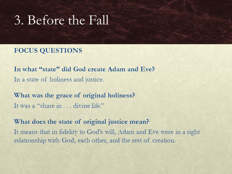 "In what ""state"" did God create Adam and Eve? In a state of holiness and justice. What was the grace of original holiness? It was a ""share in... divine"