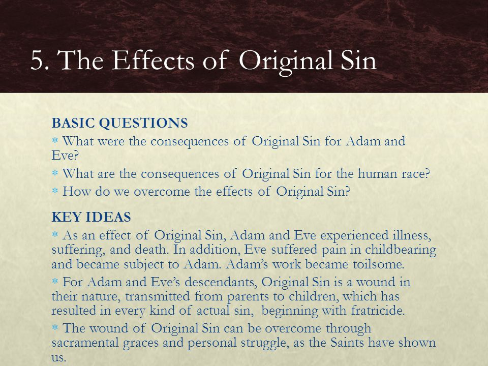 BASIC QUESTIONS  What were the consequences of Original Sin for Adam and Eve?  What are the consequences of Original Sin for the human race?  How d