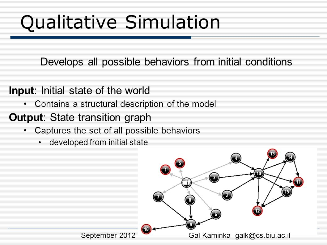 Qualitative Simulation Develops all possible behaviors from initial conditions Input: Initial state of the world Contains a structural description of