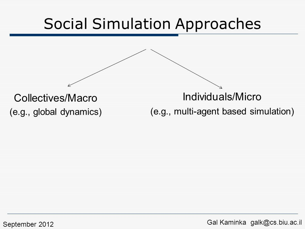 Social Simulation Approaches Individuals/Micro (e.g., multi-agent based simulation) Gal Kaminka galk@cs.biu.ac.il Collectives/Macro (e.g., global dyna