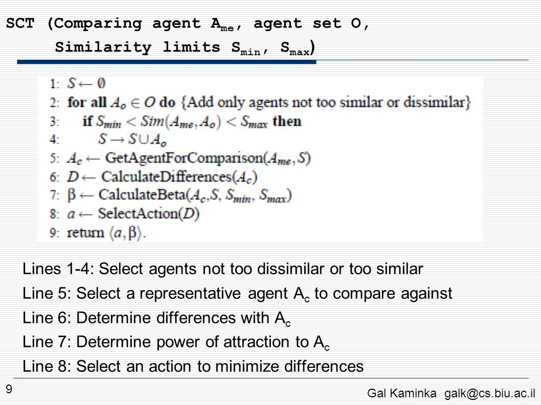Experiments: Comparison to Human Behavior Qualitative comparison: Movies of human pedestrians in Paris, Vancouver Movies of simulated pedestrians Different variants of SCT, also non-contagion model Asked 39 subjects to rate each model: How close to human (this measures absolute fidelity) Whether it was best or worst of all models (relative fidelity) Ordinal Scale: 1 (least similar) … 6 (most similar) Gal Kaminka galk@cs.biu.ac.il 10