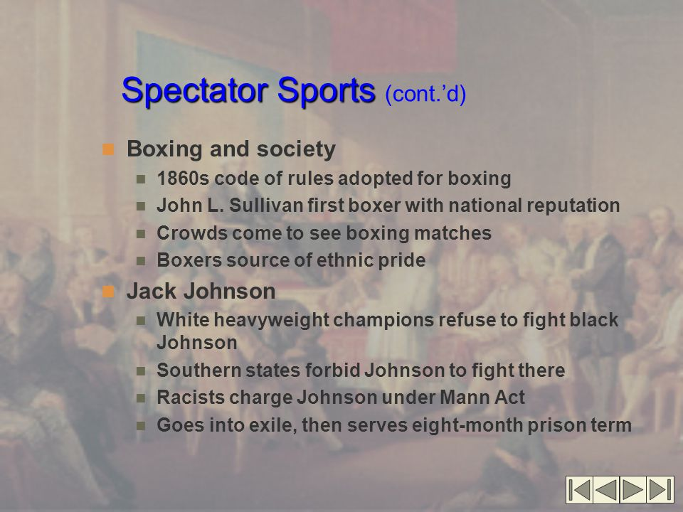 Spectator Sports Spectator Sports (cont.'d) Boxing and society 1860s code of rules adopted for boxing John L. Sullivan first boxer with national reput
