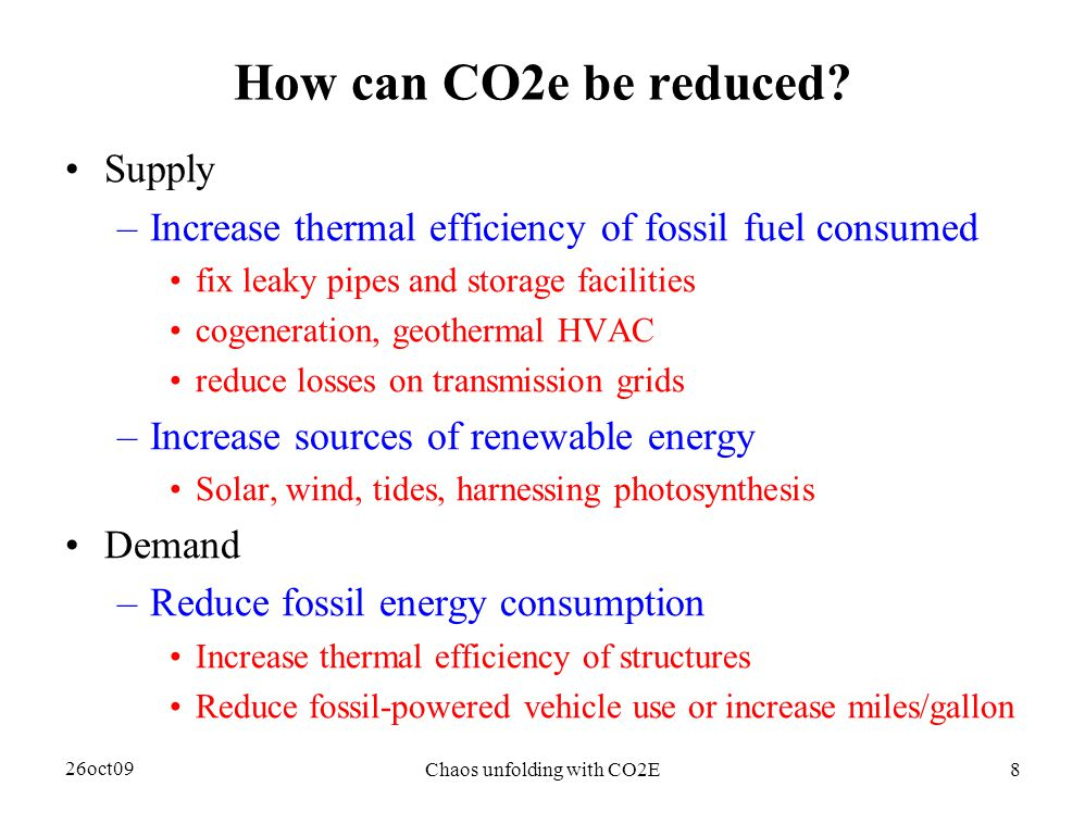 26oct09 Chaos unfolding with CO2E8 How can CO2e be reduced.