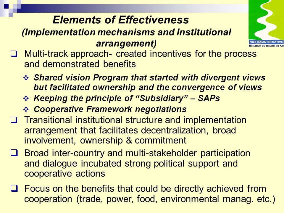 " Shared vision Program that started with divergent views but facilitated ownership and the convergence of views  Keeping the principle of ""Subsidiar"
