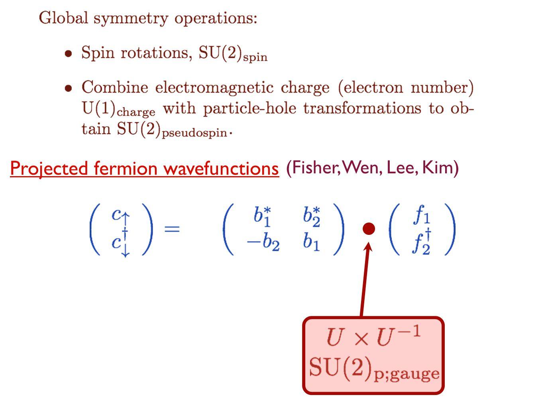 Projected fermion wavefunctions (Fisher, Wen, Lee, Kim)