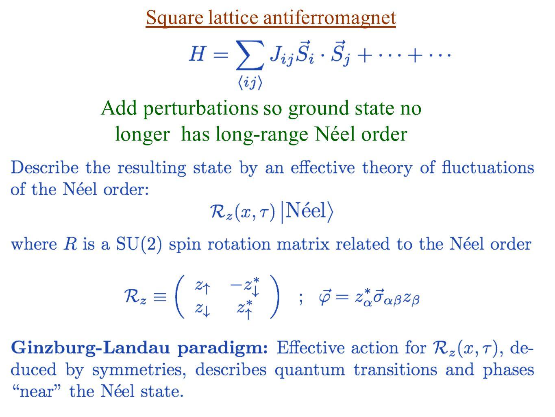 Add perturbations so ground state no longer has long-range Néel order Square lattice antiferromagnet