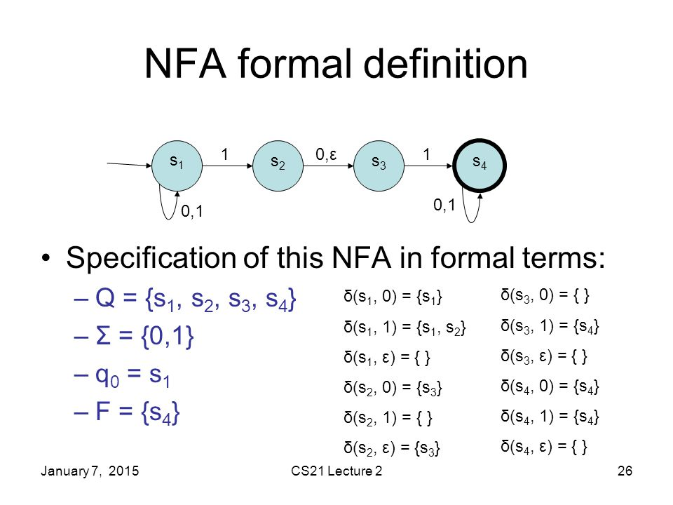 January 7, 2015CS21 Lecture 226 NFA formal definition Specification of this NFA in formal terms: –Q = {s 1, s 2, s 3, s 4 } –Σ = {0,1} –q 0 = s 1 –F = {s 4 } 0,ε11 0,1 s1s1 s2s2 s3s3 s4s4 δ(s 1, 0) = {s 1 } δ(s 1, 1) = {s 1, s 2 } δ(s 1, ε) = { } δ(s 2, 0) = {s 3 } δ(s 2, 1) = { } δ(s 2, ε) = {s 3 } δ(s 3, 0) = { } δ(s 3, 1) = {s 4 } δ(s 3, ε) = { } δ(s 4, 0) = {s 4 } δ(s 4, 1) = {s 4 } δ(s 4, ε) = { }