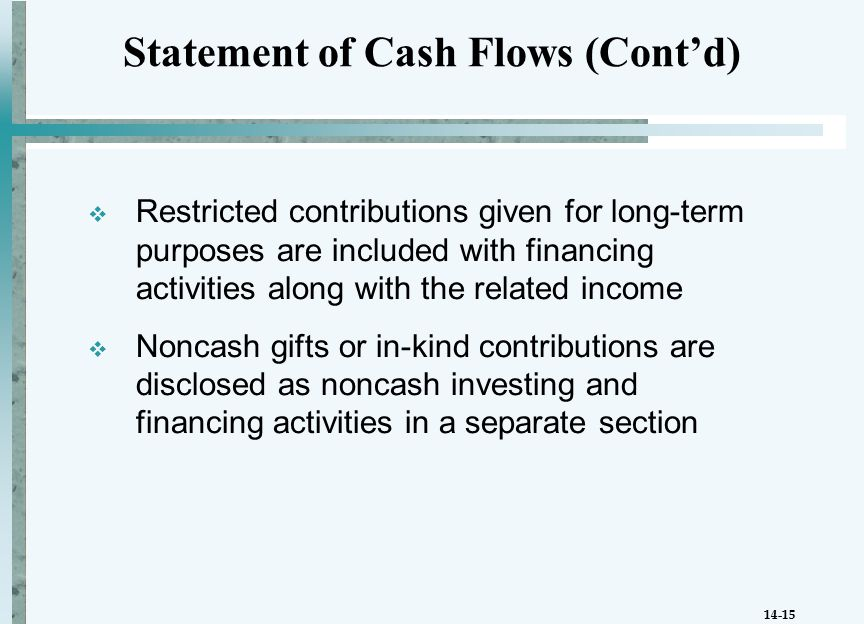 14-15  Restricted contributions given for long-term purposes are included with financing activities along with the related income  Noncash gifts or in-kind contributions are disclosed as noncash investing and financing activities in a separate section Statement of Cash Flows (Cont'd)