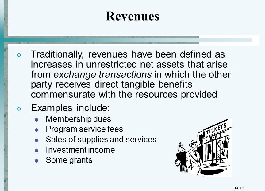 14-17  Traditionally, revenues have been defined as increases in unrestricted net assets that arise from exchange transactions in which the other party receives direct tangible benefits commensurate with the resources provided  Examples include: Membership dues Program service fees Sales of supplies and services Investment income Some grants Revenues