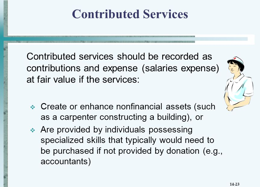 14-23 Contributed Services Contributed services should be recorded as contributions and expense (salaries expense) at fair value if the services:  Create or enhance nonfinancial assets (such as a carpenter constructing a building), or  Are provided by individuals possessing specialized skills that typically would need to be purchased if not provided by donation (e.g., accountants)