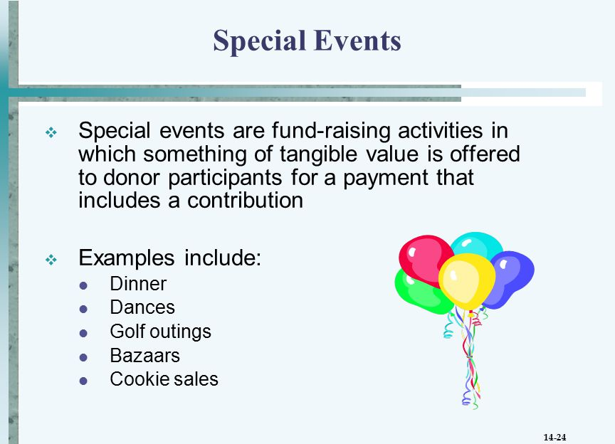 14-24 Special Events  Special events are fund-raising activities in which something of tangible value is offered to donor participants for a payment that includes a contribution  Examples include: Dinner Dances Golf outings Bazaars Cookie sales
