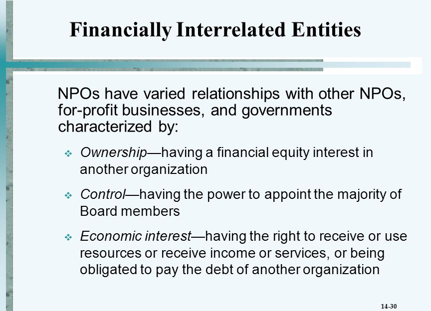 14-30 NPOs have varied relationships with other NPOs, for-profit businesses, and governments characterized by:  Ownership—having a financial equity interest in another organization  Control—having the power to appoint the majority of Board members  Economic interest—having the right to receive or use resources or receive income or services, or being obligated to pay the debt of another organization Financially Interrelated Entities