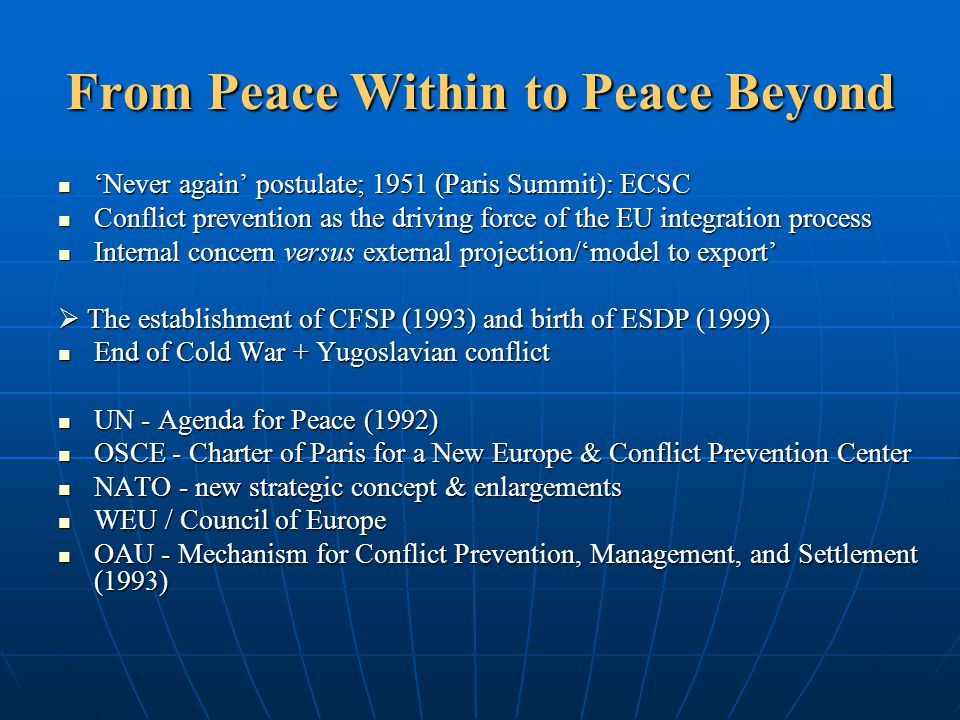From Peace Within to Peace Beyond 'Never again' postulate; 1951 (Paris Summit): ECSC 'Never again' postulate; 1951 (Paris Summit): ECSC Conflict preve