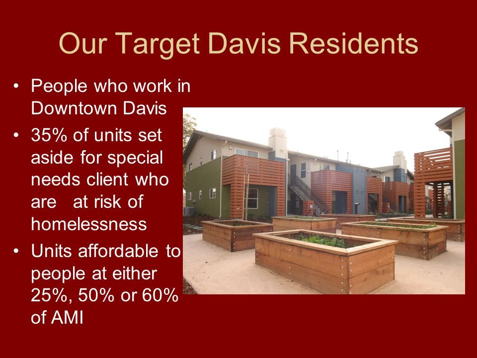 Our Target Davis Residents People who work in Downtown Davis 35% of units set aside for special needs client who are at risk of homelessness Units affordable to people at either 25%, 50% or 60% of AMI