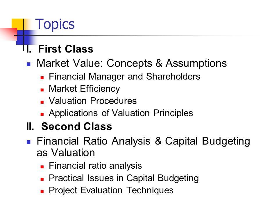 Topics I.
