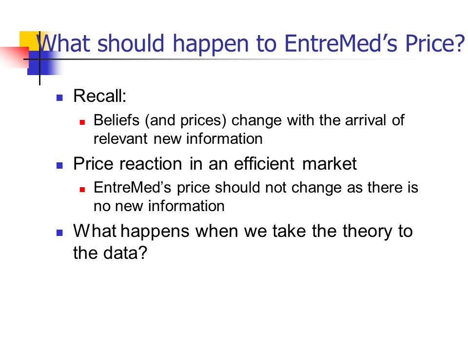 What should happen to EntreMed's Price.