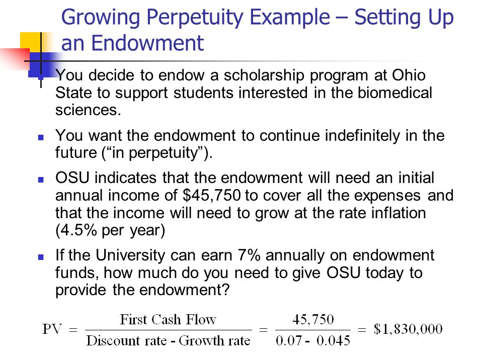 Growing Perpetuity Example – Setting Up an Endowment You decide to endow a scholarship program at Ohio State to support students interested in the biomedical sciences.