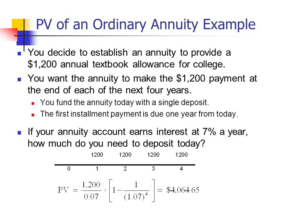 PV of an Ordinary Annuity Example You decide to establish an annuity to provide a $1,200 annual textbook allowance for college.