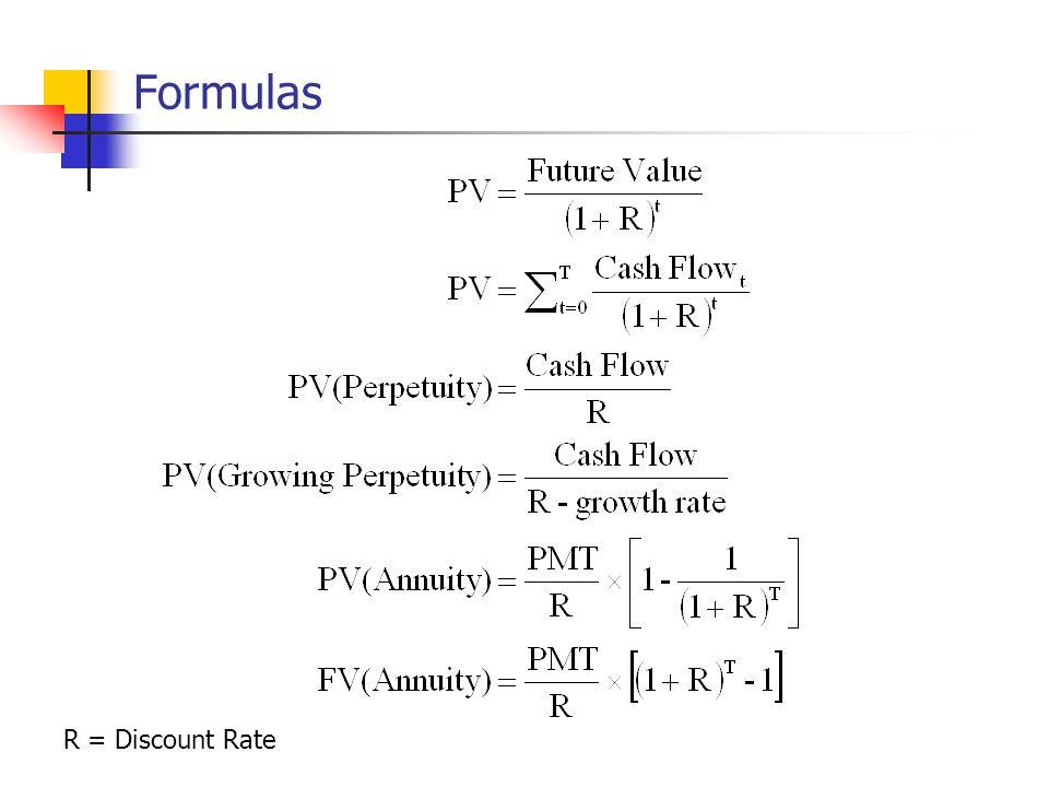 Formulas R = Discount Rate