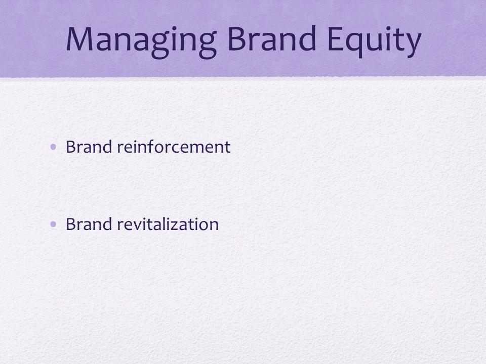 Managing Brand Equity Brand reinforcement Brand revitalization